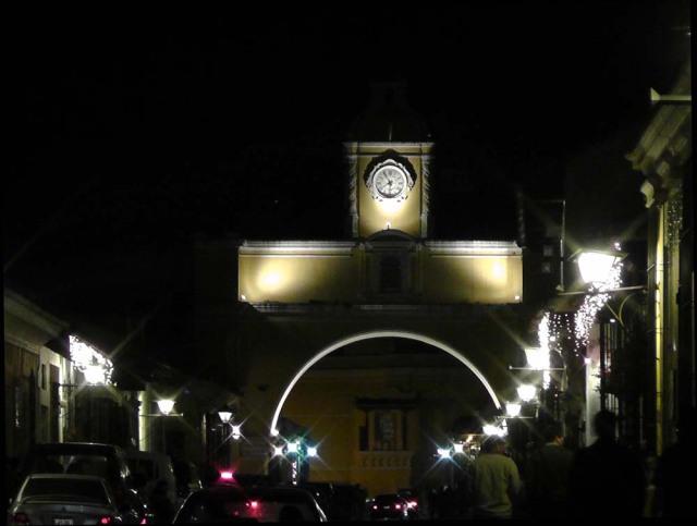 Arco de Santa Catalina by night, Guatemala, travel, travelogue, Ailsa Prideaux-Mooney