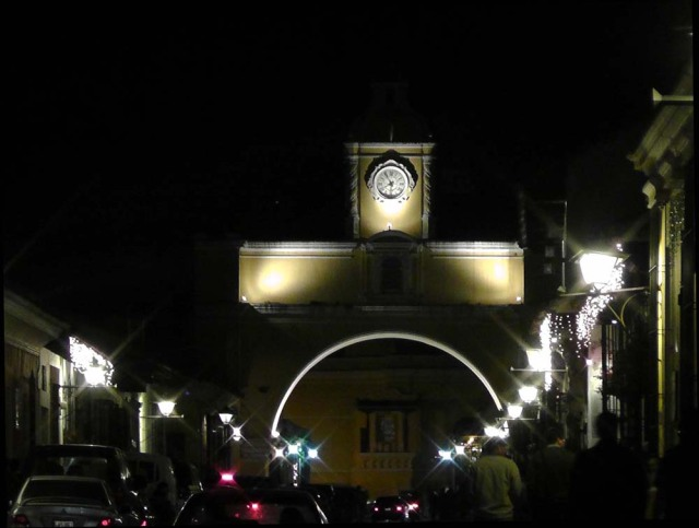 Arco de Santa Catalina by night, Guatemala, travel, travelogue, Ailsa Prideaux-Mooney