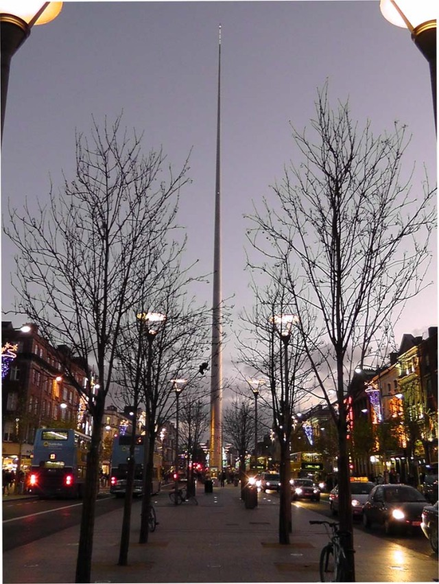The Spire looking south along O'Connell Street, Dublin, Ireland
