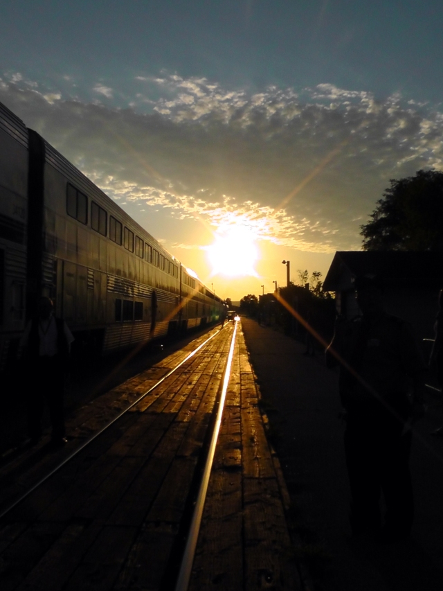 empire builder train tracks sunset