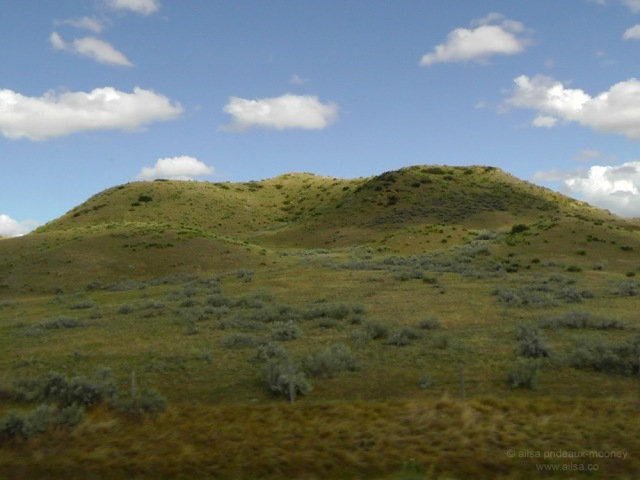 us road trip sage green hills north dakota badlands usa america driving