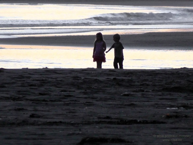 oregon coast beach sunset children boy girl