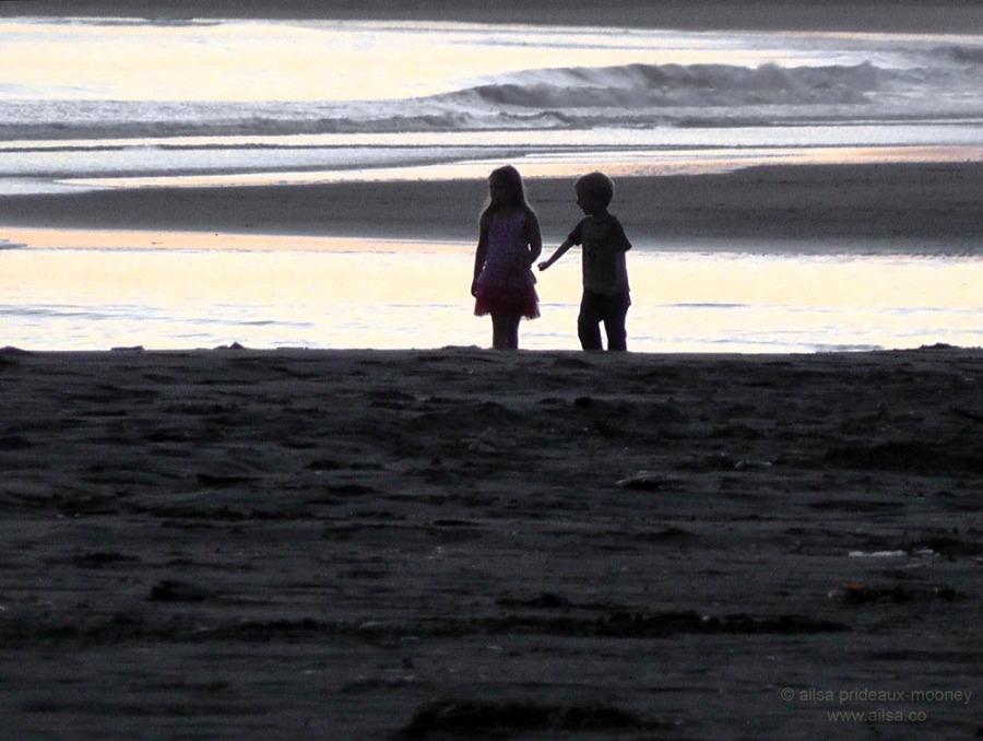 oregon coast beach sunset children boy girl