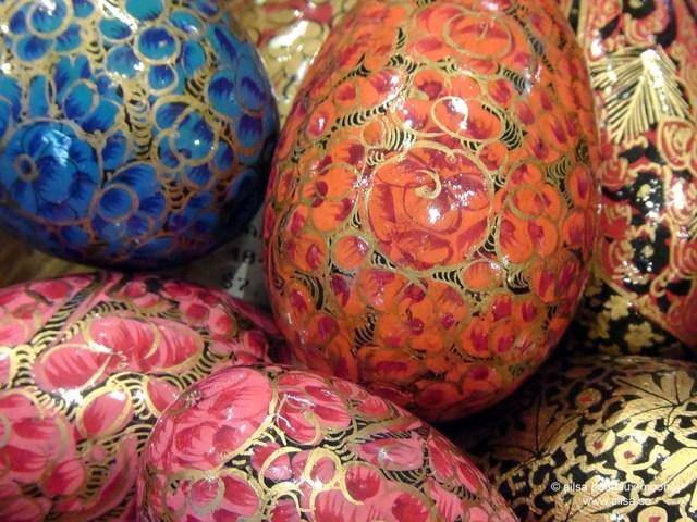 hand painted handpainted papier mache eggs