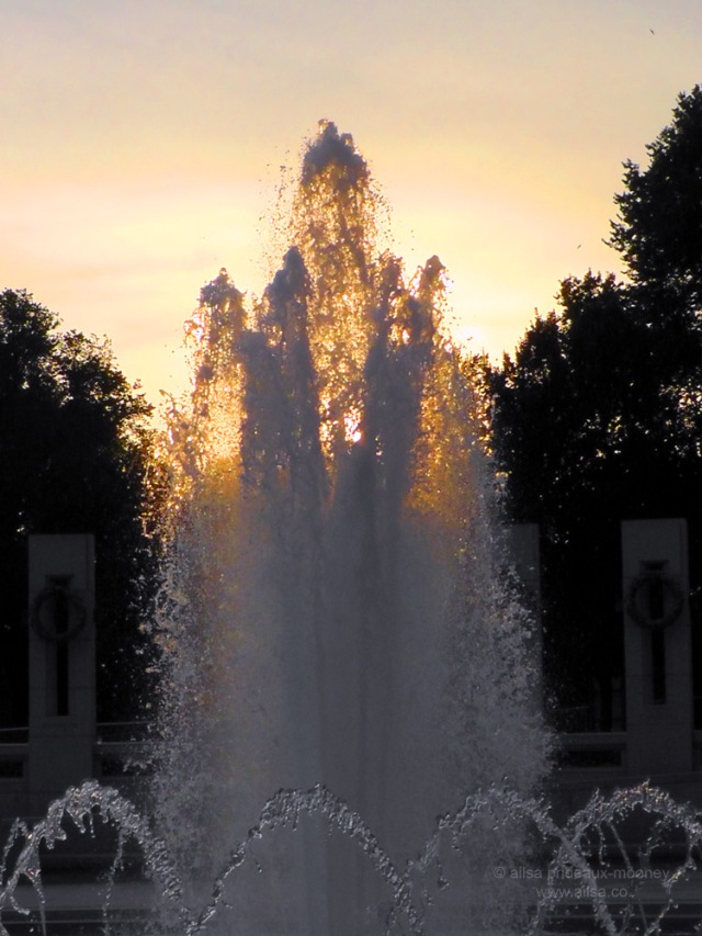 sunset fountain ww2 memorial washington dc usa us america