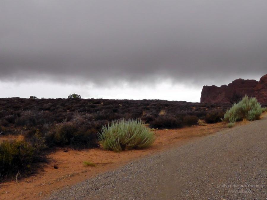 arches red green canyon utah monsoon road trip us usa america fog