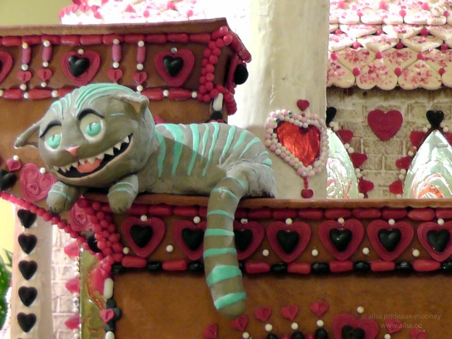 alice wonderland castle gingerbread house village seattle sheraton christmas cheshire cat