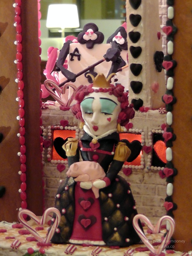 alice wonderland castle gingerbread house village seattle sheraton christmas queen of hearts