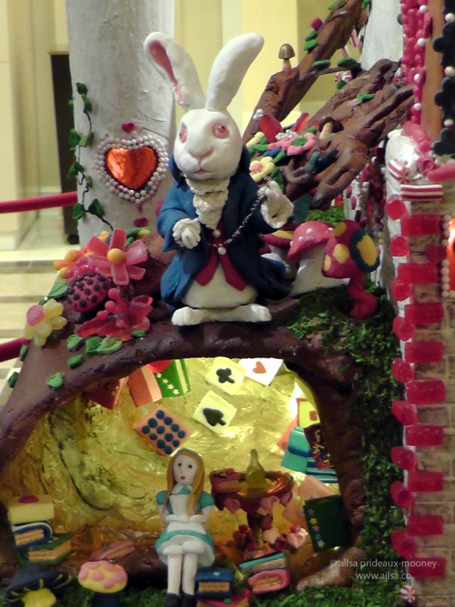 alice wonderland castle gingerbread house village seattle sheraton christmas white rabbit alice rabbithole