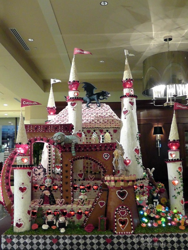 alice wonderland castle gingerbread house village seattle sheraton christmas