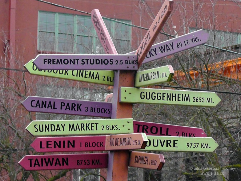 fremont seattle center centre of the universe signpost travel