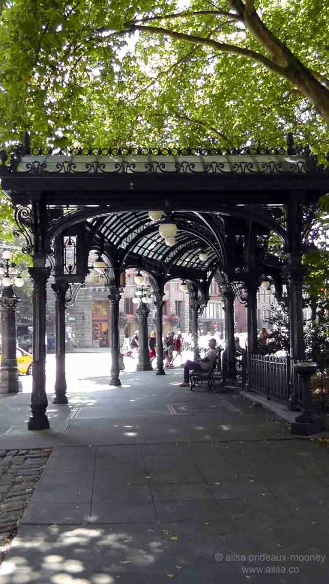 pioneer square, seattle, downtown seattle. seattle pergola, washington, travel, travelogue, photography, ailsa prideaux-mooney