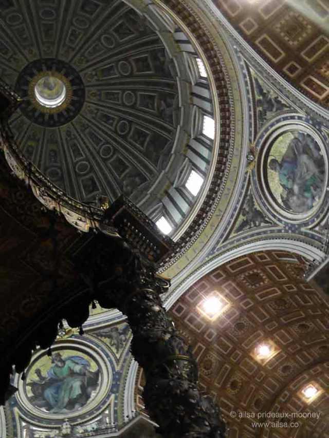st peter's basilica, st. peter's dome, cupola, baldachin, vatican city, travel, rome, travelogue, ailsa prideaux-mooney