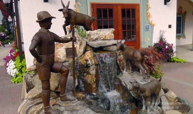 north cascades loop, leavenworth, washington, Bavarian village, travel, travelogue, Ailsa Prideaux-Mooney, peter and his goats fountain