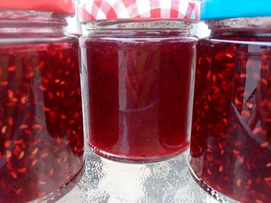 jam, blackcurrant rhubarb, raspberry rosewater